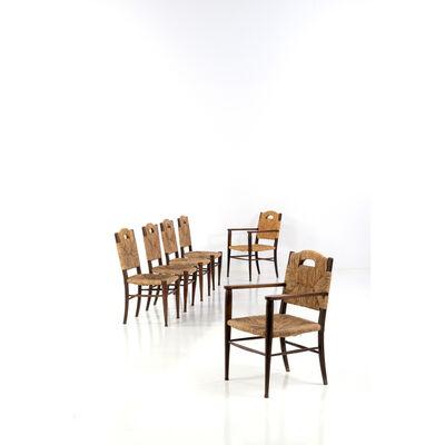 """Émile-Jacques Ruhlmann, '""""Rendez vous des pêcheurs de truite""""; Set of two chairs and for Armchairs', circa 1935"""