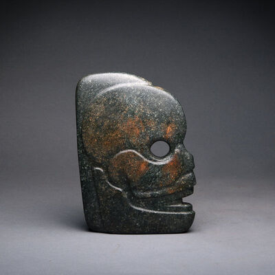 Unknown Pre-Columbian, 'Mayan Jade Hacha in the Form of a Skull', 300 AD to 900 AD