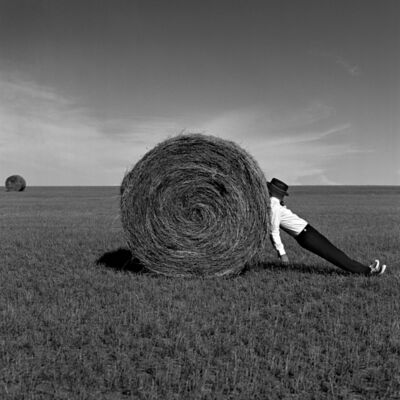 Rodney Smith, 'Man Leaning Against Hay Bale, Alberta, Canada', 2004