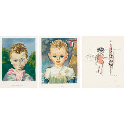 Kees van Dongen, 'JEAN-MARIE WITH A FLOWER IS HIS MOUTH; JEAN-MARIE IN THE HARBOR; DANS LA PLAGE (J. JL 20; JL 22; SEE PP. 180)', circa 1950