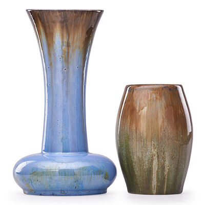 Fulper Pottery, 'Tall Flaring Vase And Short Ovoid Vase, Flambé Glazes, Flemington, NJ', 1910s-20s
