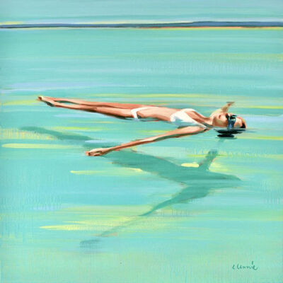 """Elizabeth Lennie, '""""Savasana"""" oil painting of woman floating in turquoise water', 2019"""