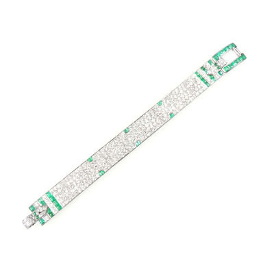 Charlton & Co, 'Diamond and emerald strap bracelet by Charlton.', ca. 1930
