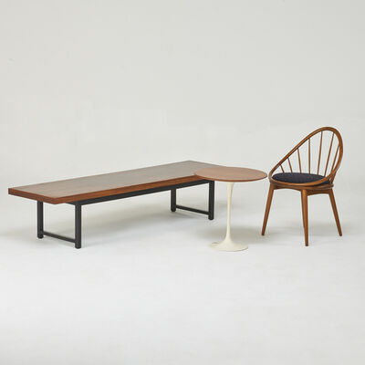 Ib Kofod-Larsen, 'Spindle back lounge chair, tulip side table, and coffee table', 1950s