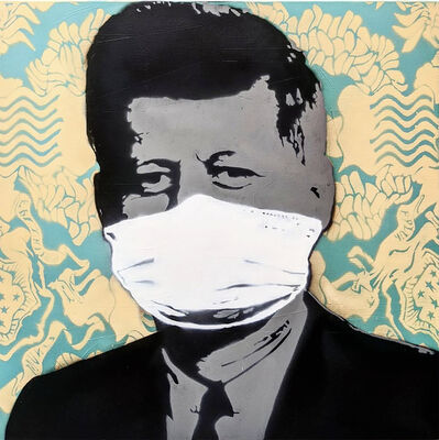 "Kar-Part, '""Mask, Not What Your Country Can Do For You"", YELLOW  aerosol on wood ', 2020"