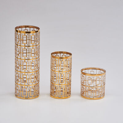 """Imperial Glass, 'Twenty-one pieces in the """"Shoji Gold"""" pattern: twelve highball, eight lowball glasses, and vase', 1965-1979"""