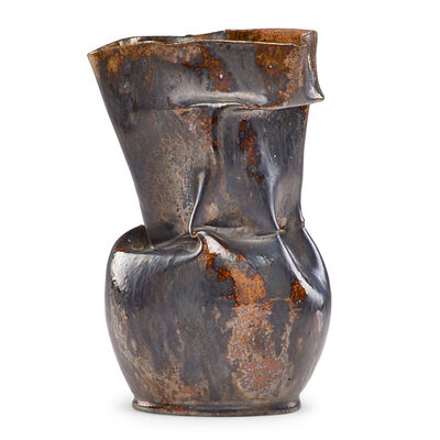 George Ohr, 'Crumpled vase, gunmetal and ochre glaze', 1897-1900