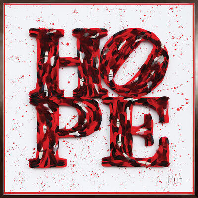 "Plum, '""Hope – Red Splash, Tribute to Robert Indiana""', 2019"