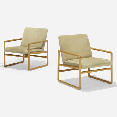 Ward Bennett, 'lounge chairs model 1226, pair', 1960