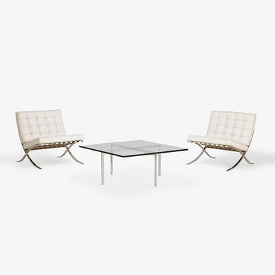 Ludwig Mies van der Rohe, 'Pair of Barcelona chairs and coffee table, Italy/USA', 2000s