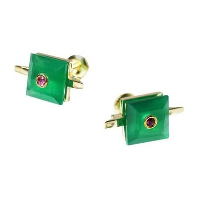 Unknown Designer, '9 Karat British Yellow Gold Set with Square Green Chalcedony and Ruby Studs', 2010