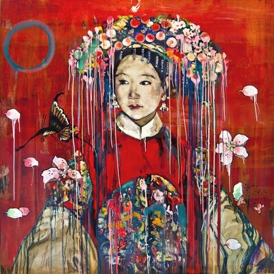 Hung Liu, 'Manchu Bride-Red ', 2016
