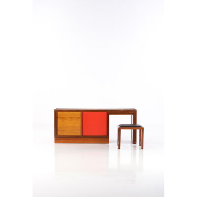 André Sornay, 'Mobilier à Tigettes; Bedroom furniture and stool', circa 1960