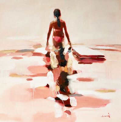 """Elizabeth Lennie, '""""Independence""""abstract oil painting of a figure wading in the water', 2018"""