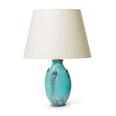 Svend Hammershøi, 'Table lamp with frond notif and teal/gray glaze ', 1910-1920