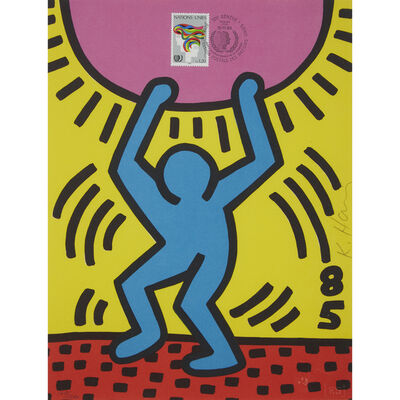 Keith Haring, 'Two Prints: International Youth Year; Fight Aids Worldwide'