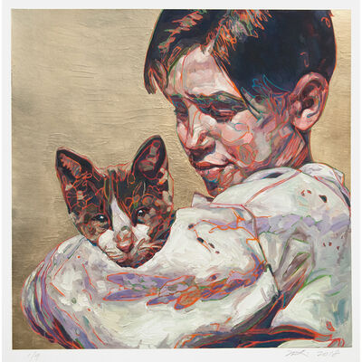 Hung Liu, 'Migrant Child: with Cat', 2019