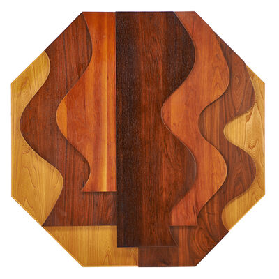 Edith Kaplan, 'Large octagonal wall-hanging sculpture with wave  pattern'