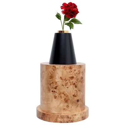 Ettore Sottsass, 'Ettore Sottsass I Limited Edition Vase in Wood and Murano Glass for Flowers', 1995