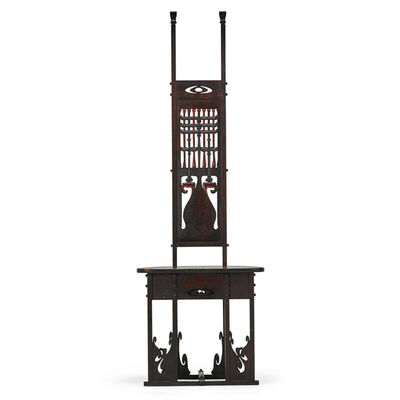 Charles Rohlfs, 'Rare And Exceptional Carved And Cut-Out Tall-Back Hall Chair, Buffalo, NY', 1900