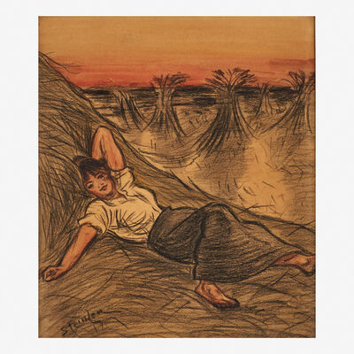 Theophile Steinlen, 'Untitled (Girl in Haystacks)'