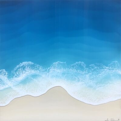 """Anna Sweet, '""""Ocean Tide"""" mixed media painting of a deep blue ocean from aerial view', 2020"""