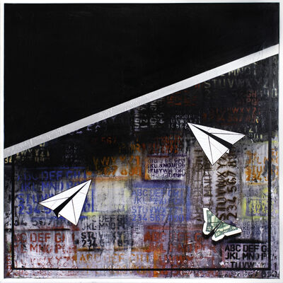 Guy Stanley Philoche, 'Black with Two Paper Airplanes, Two Dollar Bill & Butterfly', 2019