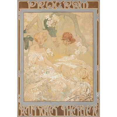Alphonse Mucha, 'Alphonse Mucha (1860-1939) Komödie 1908 Deutsches Theater New York', ca. 1908