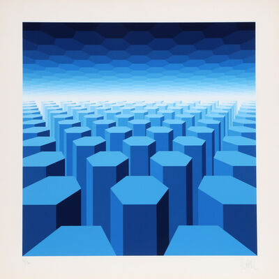 Jean-Pierre Vasarely, '50 Shades of Blue', ca. 1970