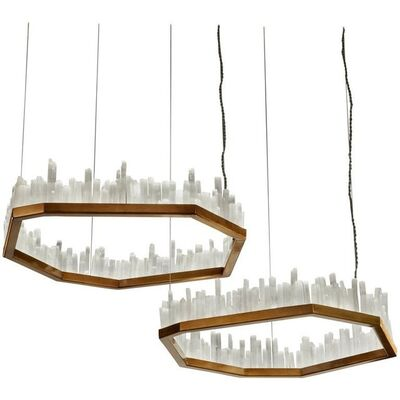 UNKNOW, 'Pair of Downtowns, Natural Selenite Pendant Lamps', 2019