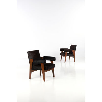 Pierre Jeanneret, 'Advocate chair - Pair of armchairs', 1955-1956