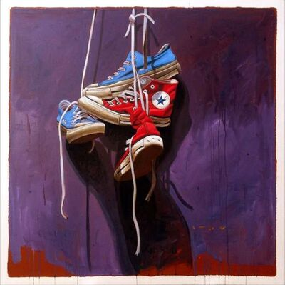 "Santiago Garcia, '""#558"" Old Red and Blue Converse Sneakers on Dark Purple Background ', 2010-2018"