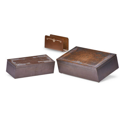 Heintz, 'Two Sterling-On-Bronze Humidors And One Letter Holder In Various Patterns, USA', Early 20th C.