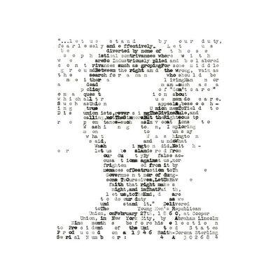David Hollier, 'Abraham Lincoln (typewritten)', 2017