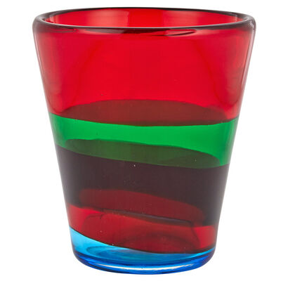 I.V.R. Mezzega, 'Fasce Orizzontali Glass Vase with Red, Green, Burgundy and Blue Bands'