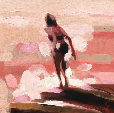 """Elizabeth Lennie, '""""Mythography 164"""" abstract oil painting of a woman in water in a neutral palette', 2020"""