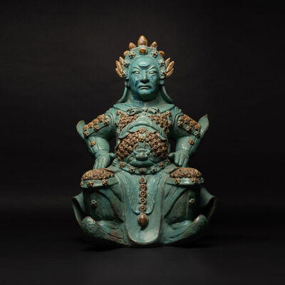 Qing Dynasty, 'Turquoise statue of a seated warrior', Qing Dynasty-c. 1644 A.D. to 1912 A.D.