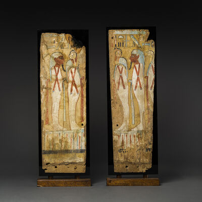Unknown Egyptian, 'A Pair of Third Intermediate Period Painted Wooden Panels', 1080 BCE-720 BCE