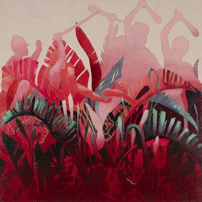 Crystal Latimer, 'Untitled In Red (Storming of the Teocalli by Cortez and his Troops, Leutze 1848)', 2018