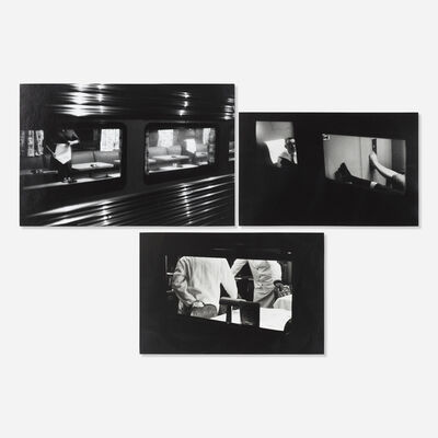 Louis Stettner, 'Pullman Car; Two Waiters on Train; Resting Feet from Penn Station Series (three works)', c. 1958
