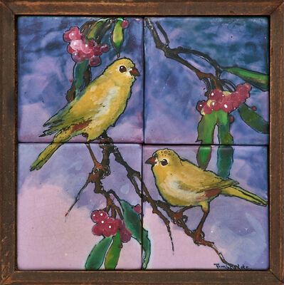 Mae Timberlake, 'Rare four-tile Silvertone tableau with finches on holly branches, Zanesville, OH', early 20th C.