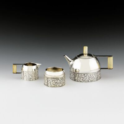 Josef Hoffmann, 'Three-Piece Tea Set with Teapot, Milk Jug and Sugar Bowl', ca. 1910