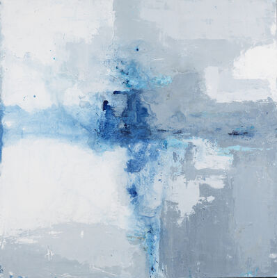 """John Schuyler, '""""Orizzonte #56"""" abstract mixed media painting in grey, white and blue', 2010-2017"""
