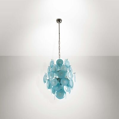 Vistosi, 'A pendant lamp with a chromed metal structure and Murano glass diffusers', 1970 ca.