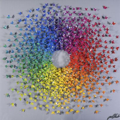 Joel Amit, 'Here Comes The Sun - Rainbow Butterflies On Silver'
