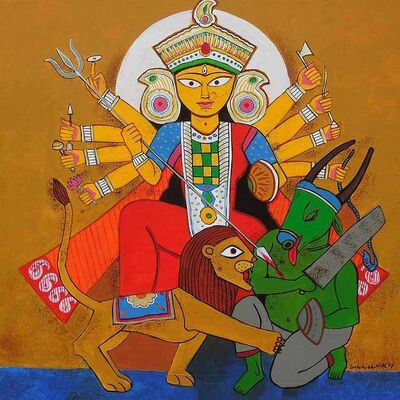 """Ashoke Mullick, 'Durga, Acrylic on Canvas, Blue, Red, Green Colours by Contemporary Artist """"In Stock""""', 2017"""