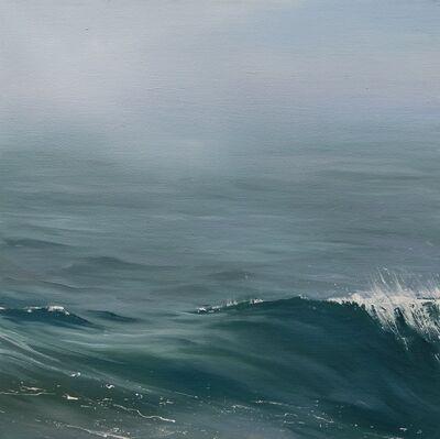 "Annie Wildey, '""Gentle Roll"" oil painting of a wave in calm deep blue green ocean water', 2010-2017"