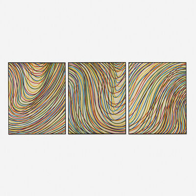 Sol LeWitt, 'Wavy Lines on Gray (triptych)', 1998