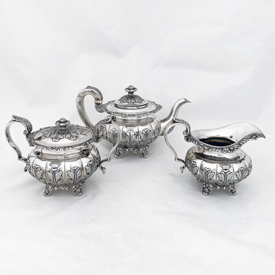 Khecheong, 'Very early Chinese Export silver tea set with pseudo ha;llmarks ', 1840