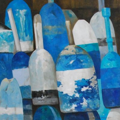 """Michel Brosseau, '""""Les Bouys Bleus No. 1"""" Oil Painting of Blue and White Buoys on Linen', 2010-2017"""